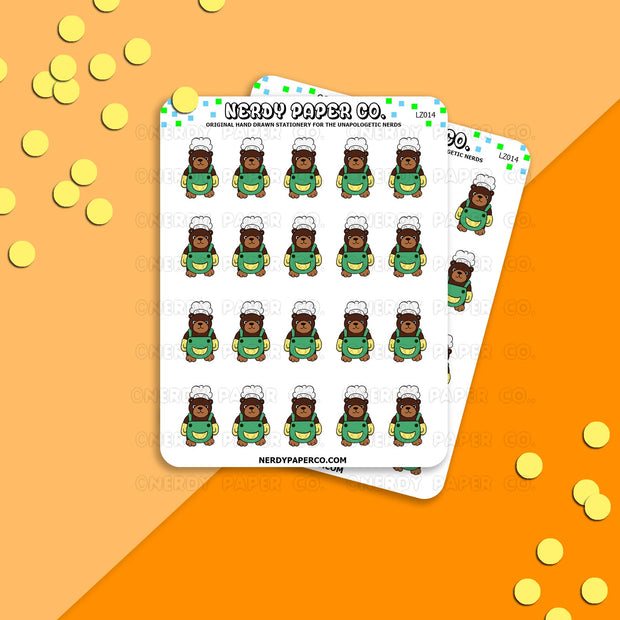CHEF BEAR - Hand Drawn Planner Stickers - Deco - LZ014