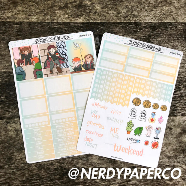 THE THREE - Hand Drawn Wizard Planner Stickers | MK008