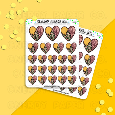 VINTAGE SALLY HEARTS - Hand Drawn Planner Stickers - NC002