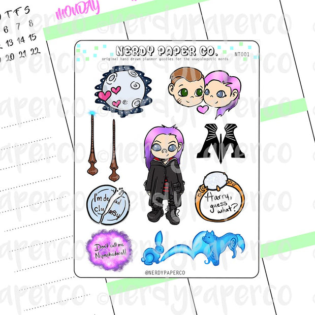 Tonks Sampler | Hand Drawn Wizard Planner Stickers - Deco | NT001