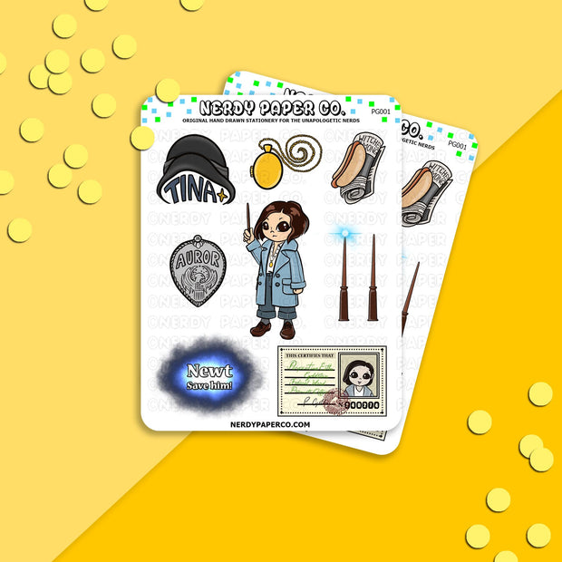 Witch Officer Sampler - Hand Drawn Wizard Planner Stickers - PG001