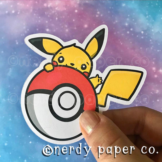 PEEKING PIKACHU- Hand Drawn Die Cut