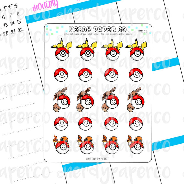 PEEKING POKEMON - Hand Drawn Planner Stickers Deco | PM001