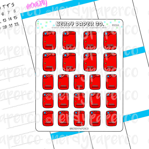 POKEDEX - Hand Drawn Planner Stickers Deco | PM004