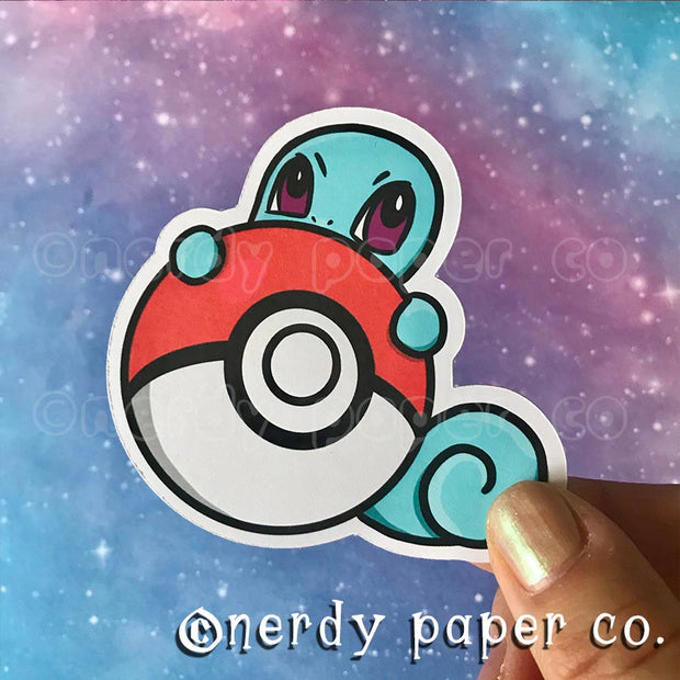 PEEKING SQUIRTLE - Hand Drawn Die Cut