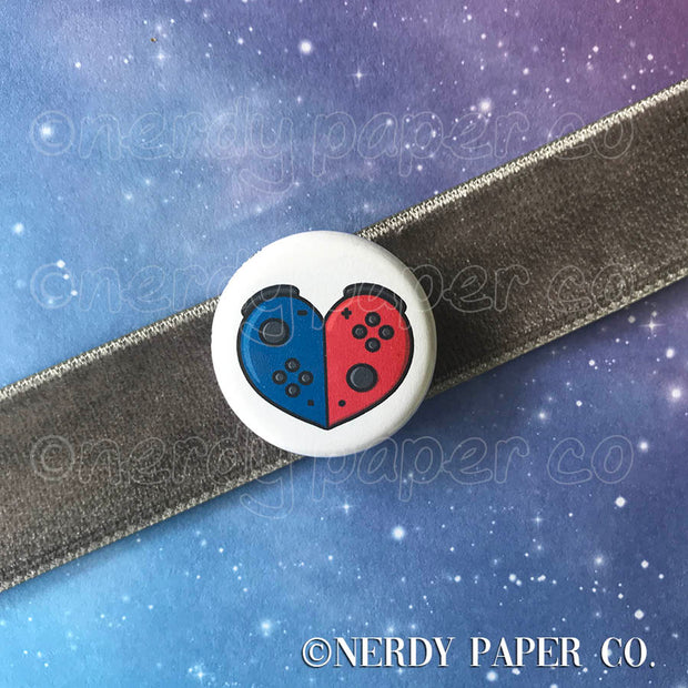 SWITCH HEART PIN BADGE |  Hand Drawn Art | Handmade Pin Badge