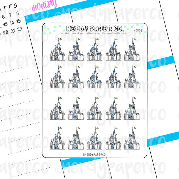MAGICAL CASTLE - Hand Drawn Planner Stickers - Deco - WD001