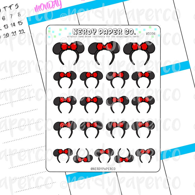 PIXEL MOUSE EARS - Hand Drawn Planner Stickers - Deco - WD006