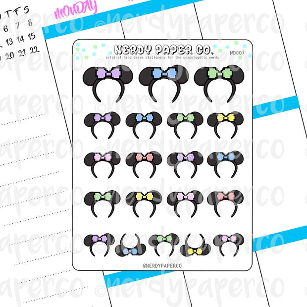 PASTEL PIXEL MOUSE EARS - Hand Drawn Planner Stickers - Deco - WD007
