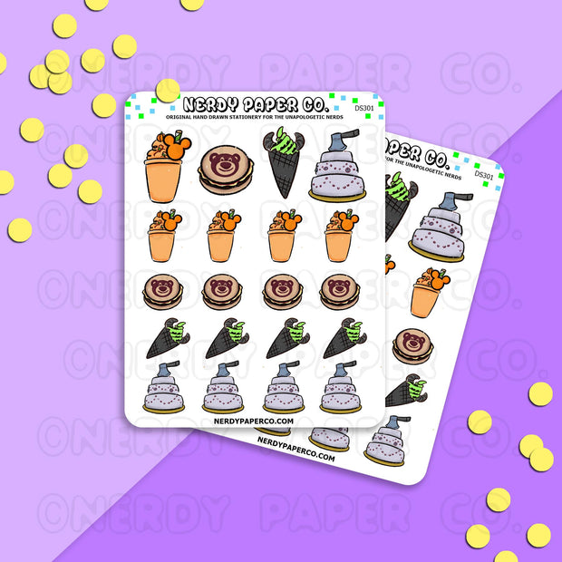 HALLOWEEN PARK FOOD - Hand Drawn Planner Stickers - WD010