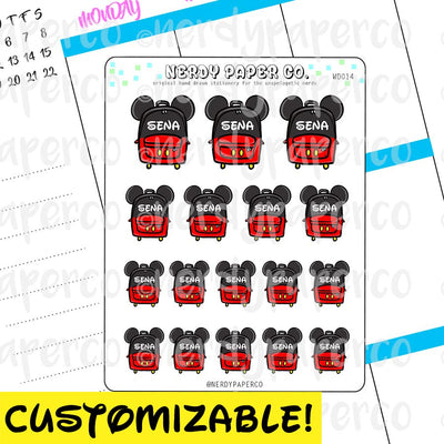 CUSTOM MOUSE BACKPACKS - Hand Drawn Planner Stickers - Deco - WD014