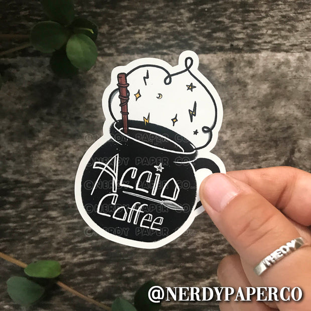 AKKIO COFFEE CAULDRON - Hand Drawn Wizard Vinyl Sticker