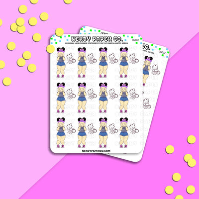 HAPPY FARTS | CHUBBY GIRLS - Hand Drawn Planner Stickers -CG002