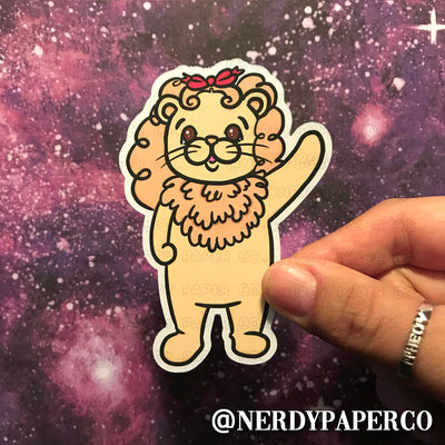 Cowardly Lion - Hand Drawn Planner Die Cut - Chibi