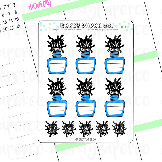 INK CHANGE -  Hand Drawn Planner Stickers - Deco - DS059