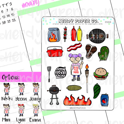 BBQ KAYLA / Hand Drawn Planner Stickers / Deco - DS068