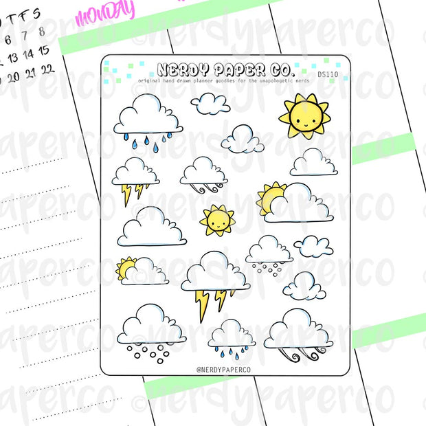WEATHER SAMPLER - Hand Drawn Planner Stickers - Deco - DS110