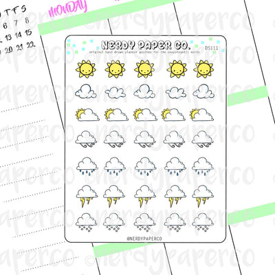 WEATHER STICKERS | PIXEL SIZE - Hand Drawn Planner Stickers - Deco - DS111