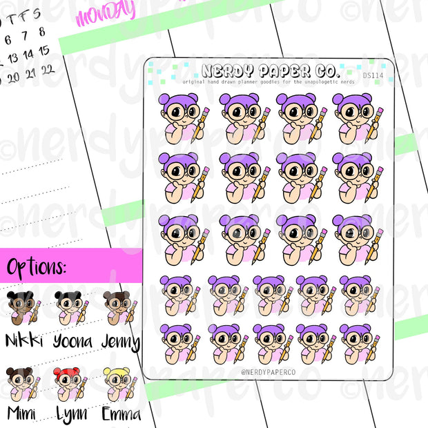 KAYLA + HER PENCIL / Hand Drawn Planner Stickers / Deco - DS114