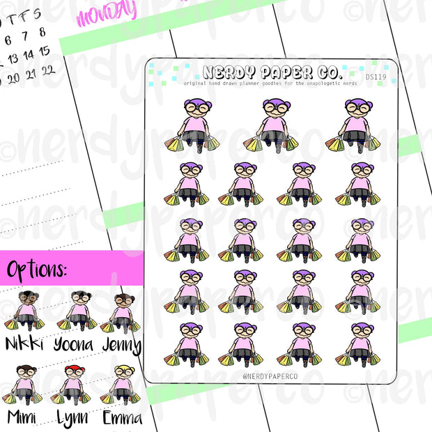 SHOPPING TIME  / Hand Drawn Planner Stickers / Deco - DS119