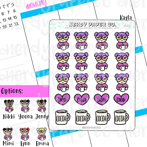 KAYLA HEARTS COCOA / Hand Drawn Planner Stickers / Deco - DS131