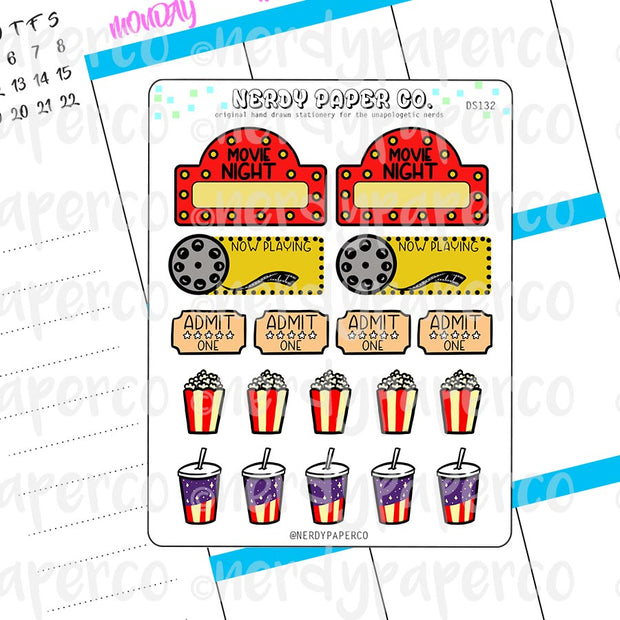 MOVIE NIGHT - Hand Drawn Planner Stickers - DS132