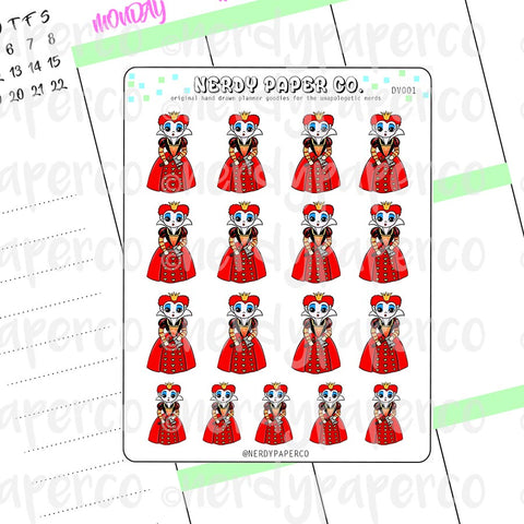 THE RED QUEEN | VILLAINS - Hand Drawn Planner Stickers - Chibi - Deco | DV001
