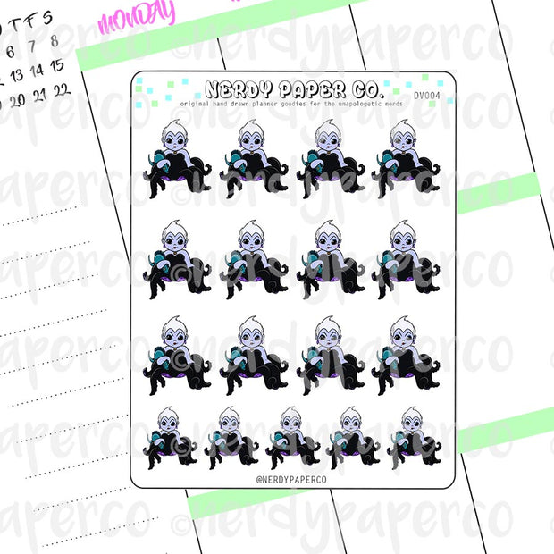 URSULA | VILLAINS - Hand Drawn Planner Stickers - Chibi - Deco | DV004