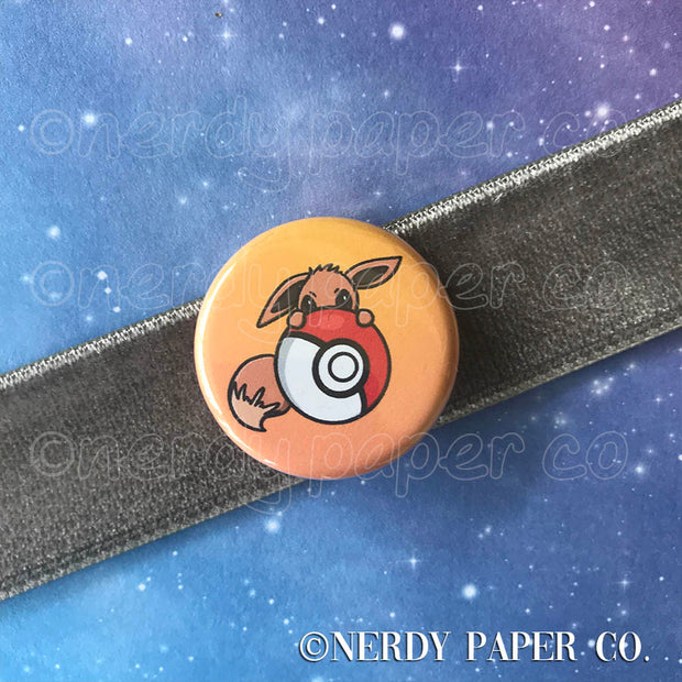 EEVEE PIN BADGE |  Hand Drawn Art | Handmade Pin Badge