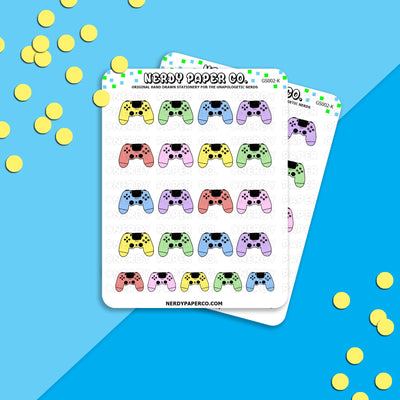 RAINBOW PS4 CONTROLLER - Hand Drawn Planner Stickers - GS002-K