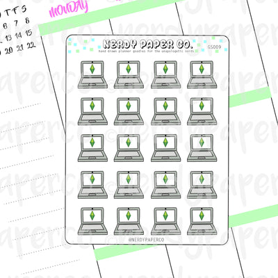 SIMS GAMETIME - Hand Drawn Planner Stickers - Deco - GS009