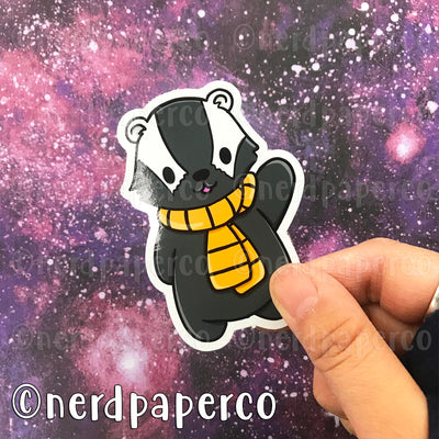 HUFFLEBADGER - Hand Drawn Wizard Vinyl Sticker