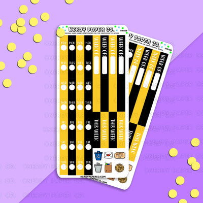 Copy of HOBO WEEKS RE DATE KIT - GOLD HOUSE - Hand Drawn Wizard Planner Stickers - HW008