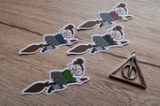 Flying Witch on Broom - Hand Drawn Wizard  Die Cuts