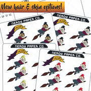 FLYING WITCH On BROOM -  Wizard- Hand Drawn Planner Stickers - Deco
