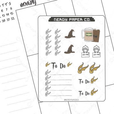 FUNCTIONAL WIZARD SAMPLER - Hand Drawn Wizard Planner Stickers  | HP038