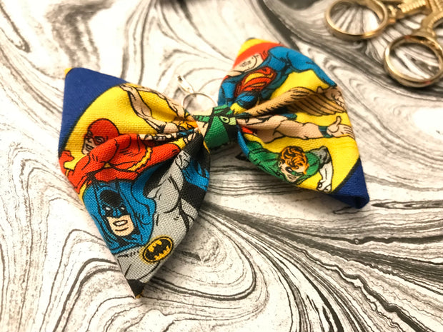 SUPERHERO PLANNER BOW - Handsewn Planner Bow Charm - Clip - Keychain