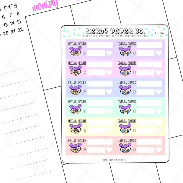 BILL DUE - Hand Drawn Planner Stickers