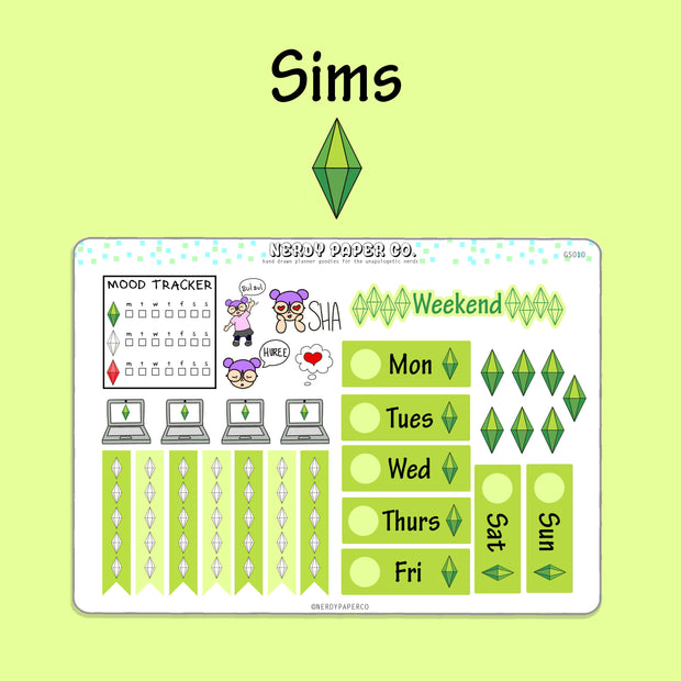 SIMS WEEKLY STICKERS - Hand Drawn Planner Stickers- GS010