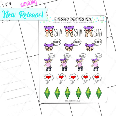 SIMS SIMLISH STICKERS - Hand Drawn Planner Stickers- Deco- Gs008