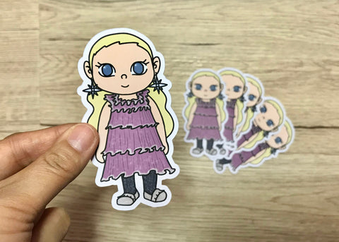 LUNA DRESSED UP- Hand Drawn Wizard Die Cut Chibi