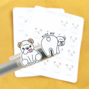 THEO Kiss My Butt- Hand Drawn Planner Stickers- DS014