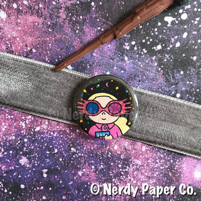 LUNA PIN BADGE |  Wizard  | Handmade Pin Badge