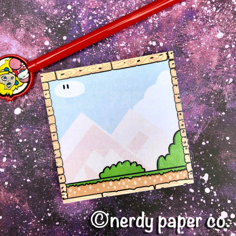 S. MARIO BACKGROUND STICKY NOTES - Hand Drawn Gamer Sticky Notes- SN002