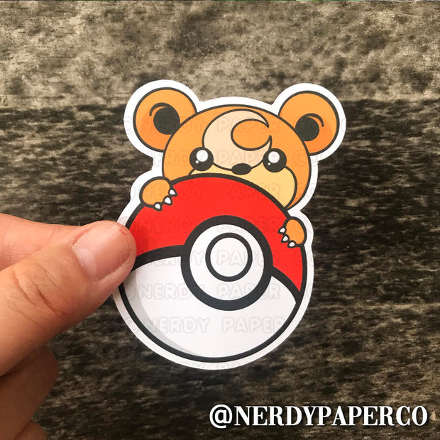 PEEKING TEDDI-URSA -  Hand Drawn Vinyl Sticker