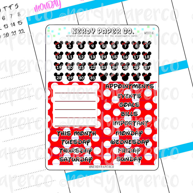 MONTHLY LADY MOUSE DATE COVERS - Hand Drawn Planner Stickers - Deco - WD016