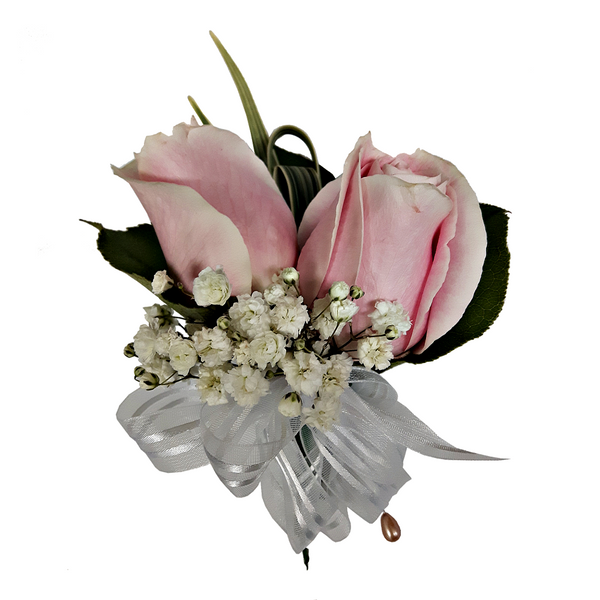 Double Pink Rose Boutonniere