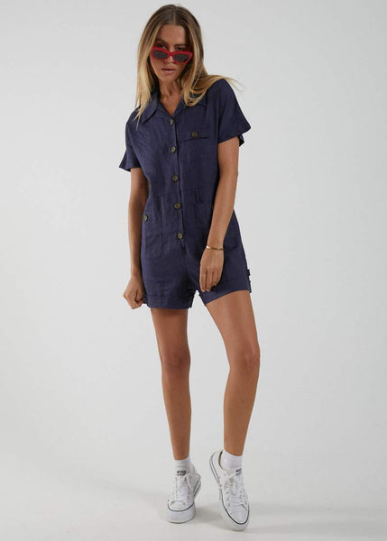 AFENDS Daisy May Hemp Button Up Playsuit