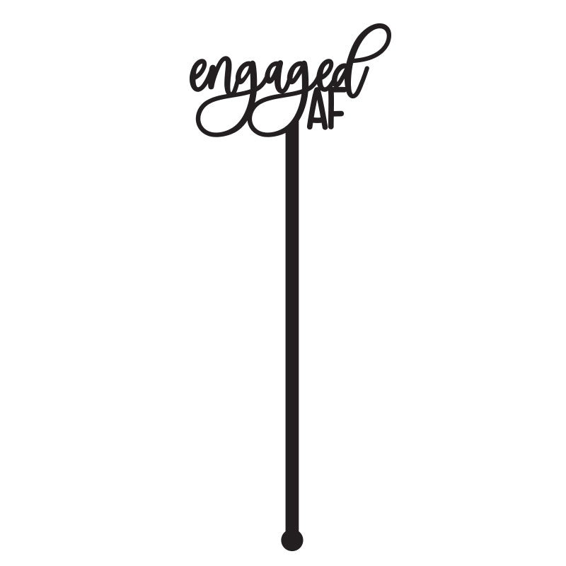 SET of 6 'Engaged AF' Wedding Drink Stirrer