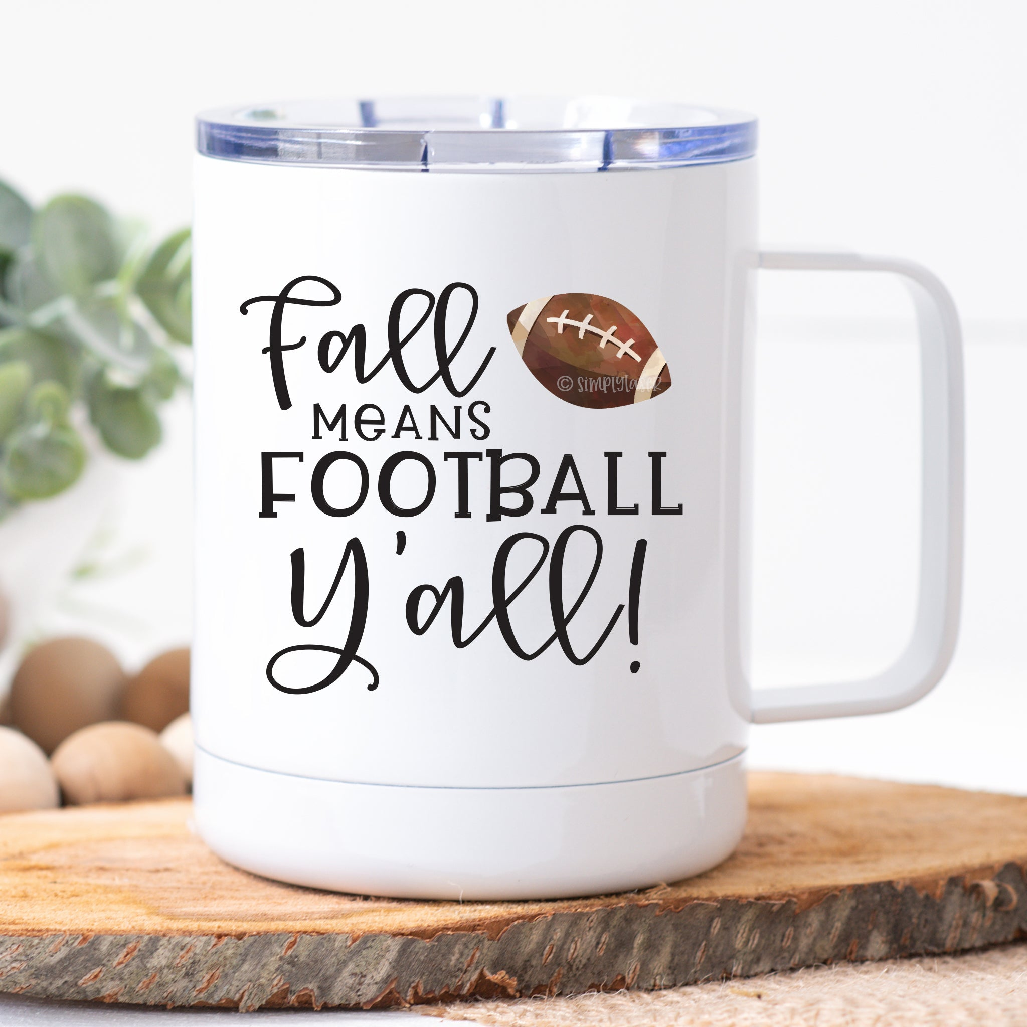 Fall Means Football Y'all Travel Mug